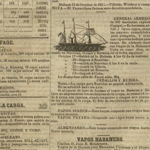 La Gaceta de La Habana,16 octubre 1852