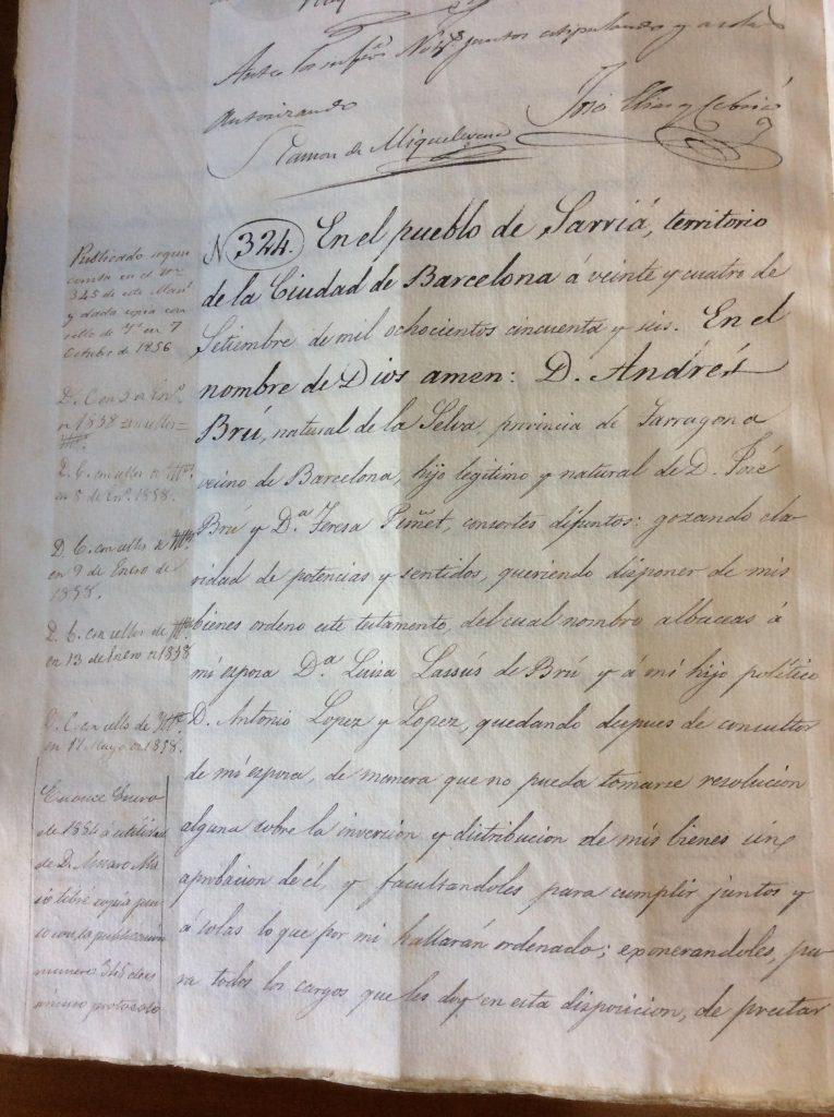 Página del testamento de Andrés Bru Puñet